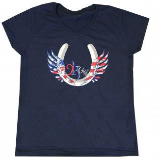 2kGrey Ladies USA Flying Hoof Tee Shirt