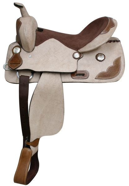 "16""  Rought Out Leather Saddle with Tooled leather accents. * Full QH Bars*"
