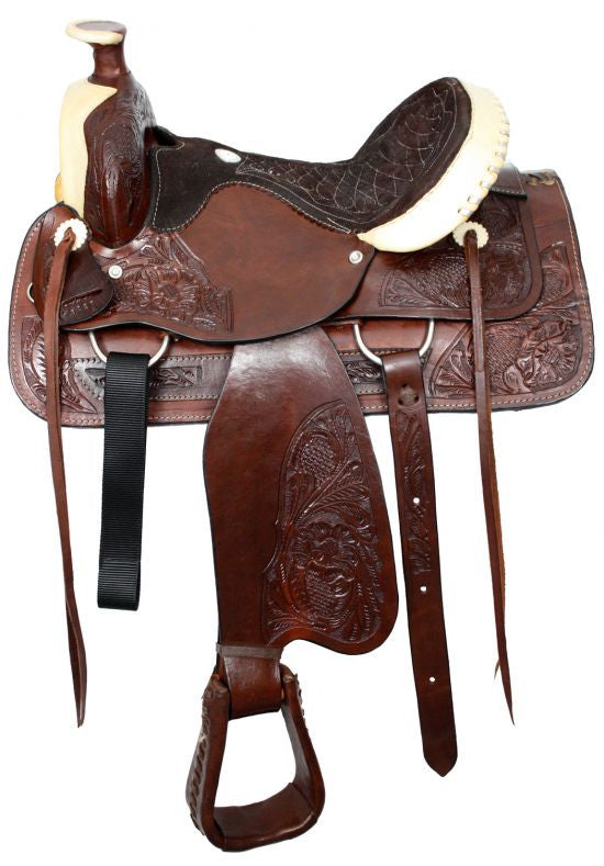 "16"" Semi acorn tooled Buffalo roper style saddle with rawhide silver laced cantle."