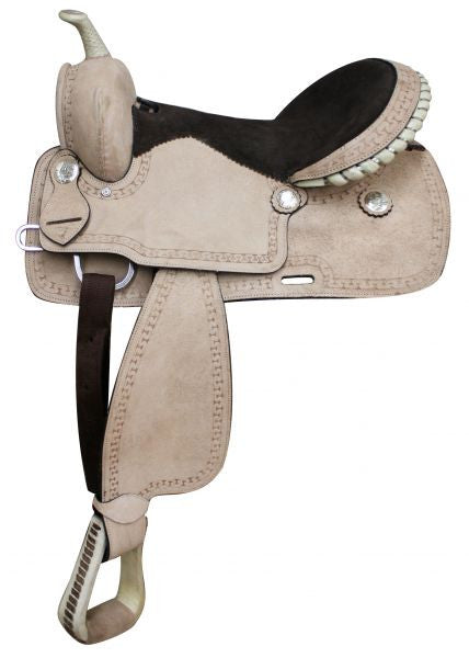 "16""  Full Rough Out Leather Economy Saddle. * Full QH Bars*"