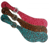 Ladies printed cowhide Filigree spur straps. Light weight and easy to adjust.