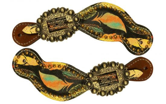 Showman ® Ladies Size Leather Spur Straps with feather print