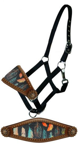 Showman Feather print bronc nose halter