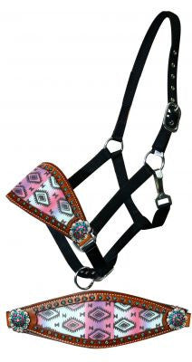 Showman Adjustable nylon bronc halter with pastel Navajo diamond noseband