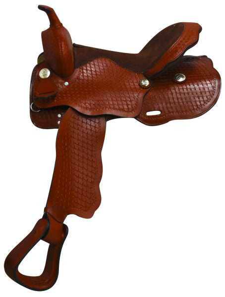 "16"" Fully Tooled Economy style western saddle with suede leather seat."