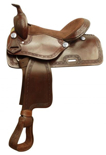 "16"" Economy style saddle with smooth finish and barbed wire tooled border."