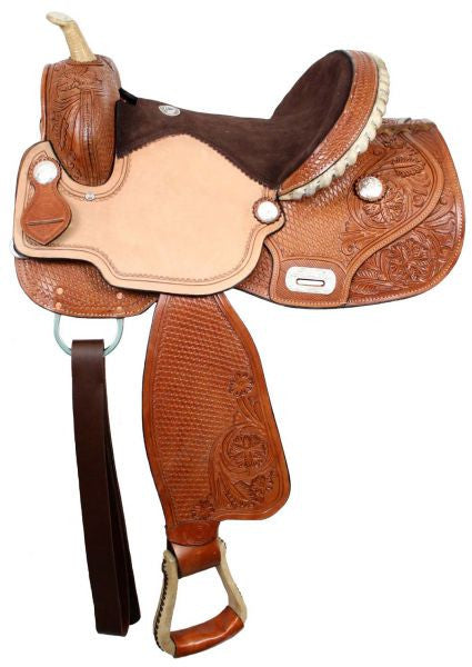 "15"", 16"" Double T Barrel Saddle with Flex Tree."