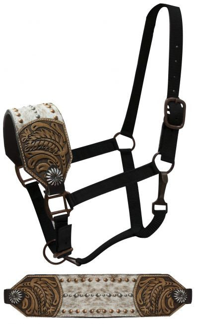 Showman FULL SIZE Bronc halter with hair on noseband accented with floral tooling on sides