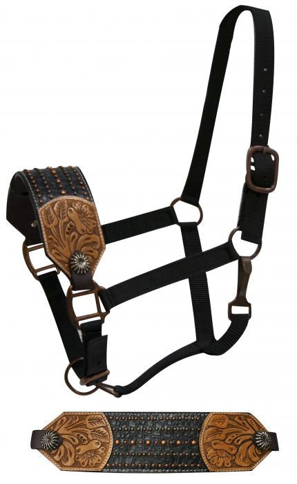 Showman FULL SIZE Leather bronc halter with floral tooling