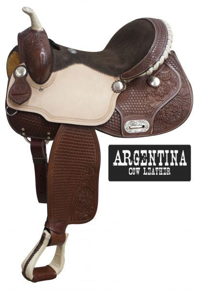 "14"" Double T  Argentina cow leather barrel style saddle with basket weave tooling."