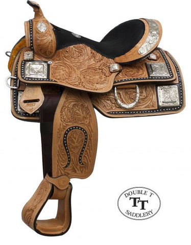 "12"" Double T fully tooled Youth / Pony show saddle with silver."