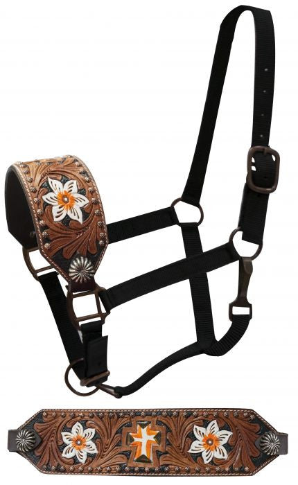 Showman FULL SIZE Bronc halter with painted flowers and cross with filigree tooling