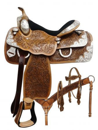 "16"" Fully tooled Double T Show saddle set."