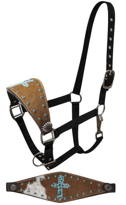 Showman FULL SIZE Bronc halter with hair on cowhide and teal alligator print cross