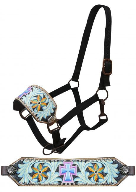 Showman FULL SIZE Bronc halter with painted cross and painted filigree tooling