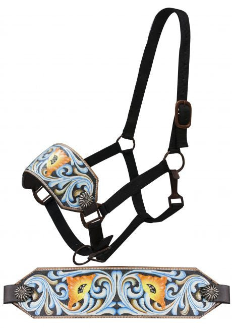 Showman FULL SIZE Bronc halter with painted floral tooling