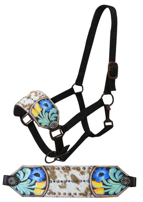 Showman FULL SIZE Bronc halter with hair-on cowhide inlay and painted floral tooling