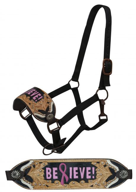 "Showman FULL SIZE  BREAST CANCER AWARENESS Bronc halter with painted  ""Believe!"""