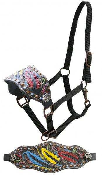 Showman FULL SIZE Leather bronc halter with tooled, painted feathers