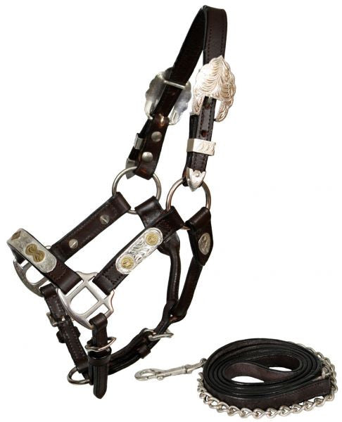 Showman leather mini size silver show halter