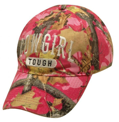 """ Cowgirl Tough"" Pink camoflauge baseball hat."