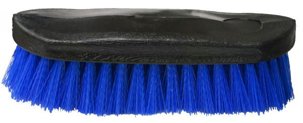 "Stiff bristle brush. Stiff bristles on an oval base. Measures 3"" wide and 9"" long."