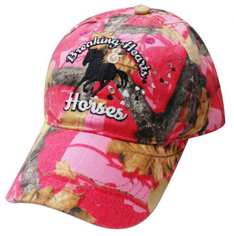 """ Breaking Hearts & Horses"" Pink camoflauge baseball hat."