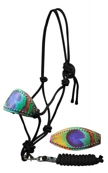 Showman Peacock feather bronc nose knot halter