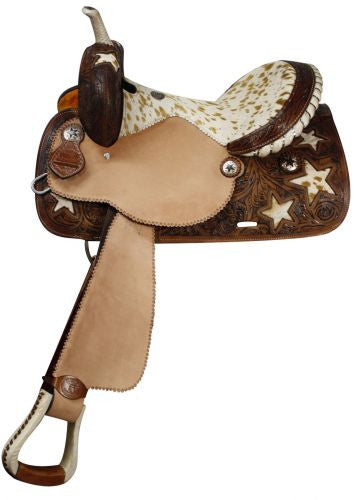 Double T Barrel Style Saddle with Hair On Cowhide Seat and Star Inlays.