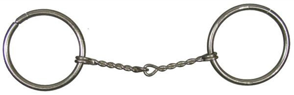 "Pony size Nickel plated O-ring snaffle bit with 4"" small twisted wire mouth. O-rings measure 2 1/2"""