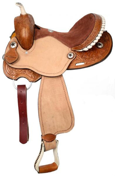 "15"", 16"" Double T Barrel Style Saddle with Round Skirts."