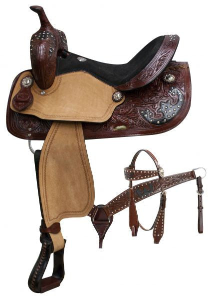 "14"", 15"", 16"" Double T  saddle set with burgundy floral tooled leather and silver studded black leather inlay."