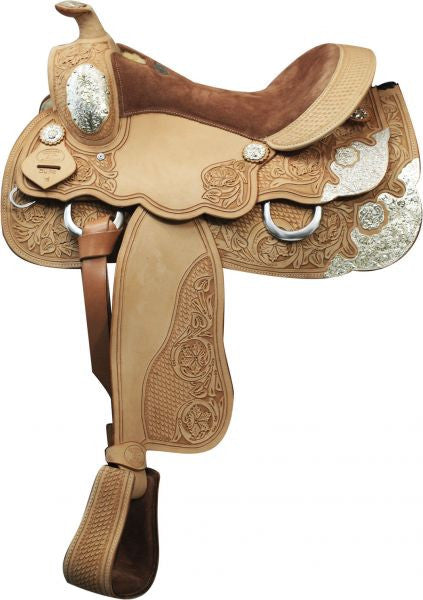"16"" Double T Show Saddle with floral and basket weave tooling."