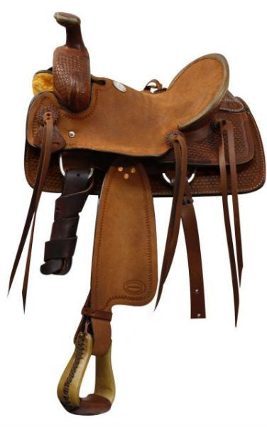 Showman™ youth Roping saddle with braided basket weave tooling.