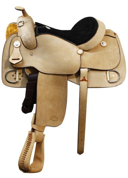 "16"", 17"" Showman™ full rough out leather training saddle with suede leather seat."