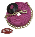 Showman 25' flat cotton web lunge line with brass chain