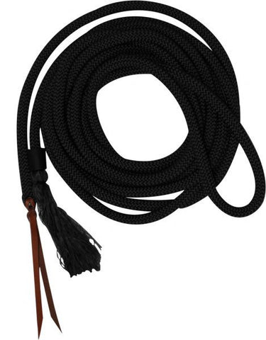 23' round nylon braided mecate reins with leather ends.