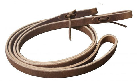"5/8"" Harness leather roping reins. Tie-on waterloop ends. Made in the U.S.A. 86"" long."