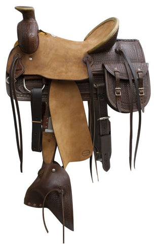 "16"" Blue River roper saddle with tapederos and saddle bags."