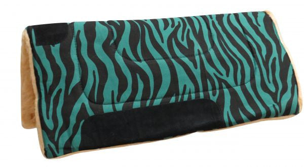 "30"" X 30"" Teal & Black zebra print canvas top saddle pad with fleece bottom. 8 pads per case."