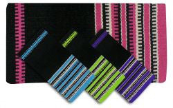 "32"" x 64"" Wool saddle blanket with colored zipper design."