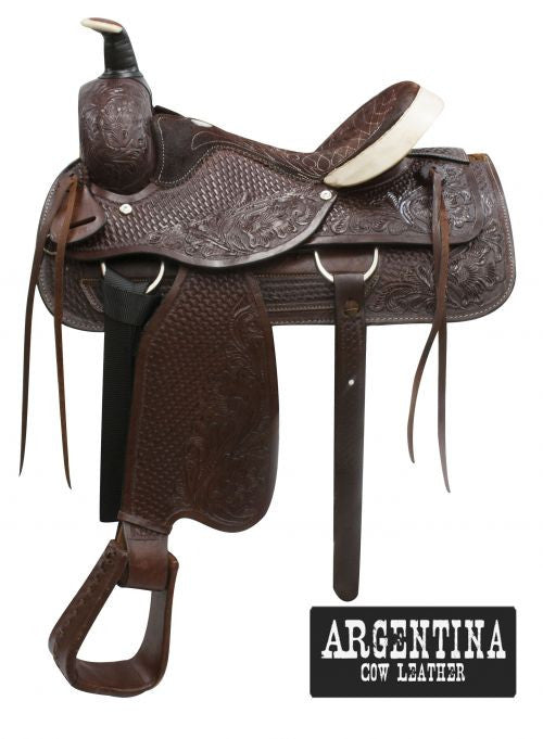 "16"" Buffalo Argentina cow leather roper style saddle."