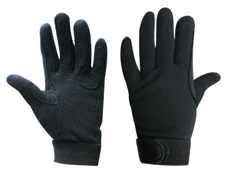 Breathable cotton knit reinforced riding gloves with pebbled palms and Velcro closure.