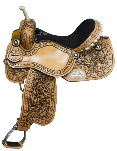 "14"",15"", 16"" Fully tooled Double T barrel saddle with black inlay."