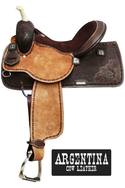 "15"",16""  Showman™ Argentina Cow Leather Barrel Style Saddle."