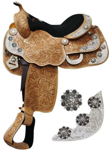 "16"" Fully tooled Double T Show saddle with engraved silver accented with crystal rhinestone conchos."