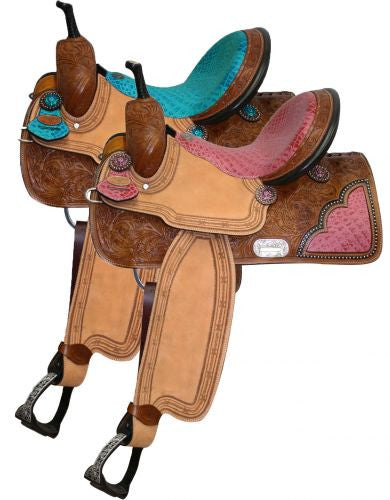 "14"" , 15"", 16"" Double T Barrel Style Saddle with Pink Alligator Print Seat."