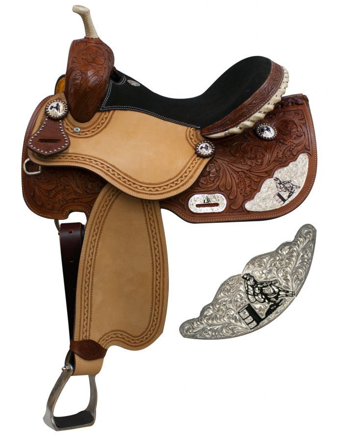 "15"", 16"" Double T Barrel Style Saddle with Silver Engraved Barrel Racer Accents."
