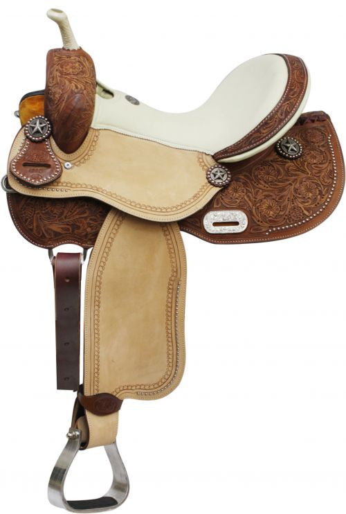 "14"" 15"" 16"" Double T Barrel Style Saddle with Texas Star Conchos."
