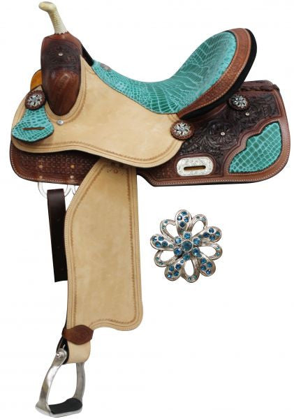 "14"", 15"", 16"" Double T Barrel Style Saddle with Teal Alligator Print Accents.*Full QH Bars*"